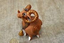 Рыжие керамические зверушки для коллекции и для души