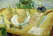 Raccontami una visita _ Van Gogh / Il tema è l'uomo e la terra ..forse questa è tra le più belle opere presenti C'è tutto dell'uomo ...cibo ..letture e piccoli vizi amicizie ( la cartolina )