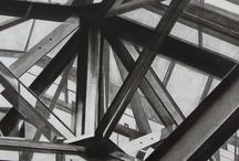 my work - charcoal drawings! / black and white architectural images in charcoal/pastel/conte