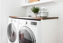 Laundry Room Designs / small space living light bright home decor inspo eclectic boho vintage mid century laundry rooms