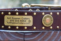 Hunting Dog Collars / These leather hunting dog collars are detailed with Winchester Colt 45 shells or bullet conchos. Color choices are black, chocolate, chestnut, and tan, and can be purchased with matching leather leads and optional name plates.