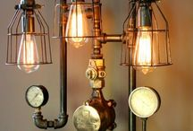Interiors / Lamps, furniture, and steampunk inspired vintage looking interior design.