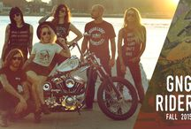 GNG Riders Lookbook / Fall/Winter 2015 Lookbook featuring Indian Larry Motorcycles and Rose Royce Clothing