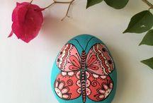 Butterflies / Butterflies on Painted stones