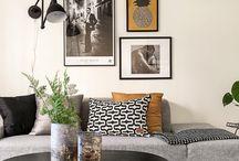 B&W interior / Un intérieur tout en contraste et raffinement. Peut être réchauffé avec du cuir camel ou un bois clair. Le blanc et noir se décline sur tous les matériaux, du mobilier aux murs ainsi qu'aux sols. Se décline également dans toutes sortes de mosaïques qui donneront immédiatement du cachet à la pièce.   Personnellement, j'ai adopté  ce style de décoration pour ma chambre à Nantes, avec des tapis style peau de bête, jeté de lit géométrique et coussins à motifs blanc et noir ethnique.