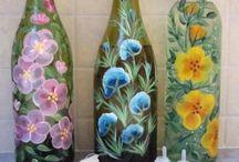 botellas decoradas y  cajas