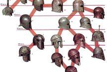 Ancient helmets Greek Helmets / Greek helmet - Scythian helmet -  Cretan helmet - Boeotian helmet - Petasos helmet - Dacian helmet - Attic helmet -  Thracian helmet
