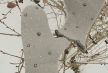 варежки ручной работы австралийский меринос, чешский бисер стразики