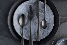 Urban Dining / Black cutlery, copper cutlery, modern, urban, fashion, interior, design,