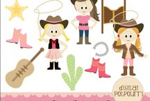 Cowgirl & Cowboy / A variety of cowboy and cowgirl clip art, invitations and patterns. #cowboy #cowgirl #clipart