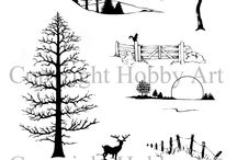 """Country Scenes / Brand New """"Country Scenes"""" designed by Sharon Bennett. Clear set consists of 11 stamps / by Hobby Art"""