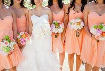 Bridesmaid Dress Ideas / Mostly Peach; navy blue & gold as 2 backup colors; but make it your own, no major rules here!!