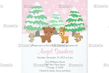 Pink Winter Wonderland Woodland Animals Shower / This collection features cute woodland animals - a rabbit, bear, reindeer and squirrel. In the background is a winter scene with falling white snowflakes on a pink background, trees coated with snow and bauble fairy lights.