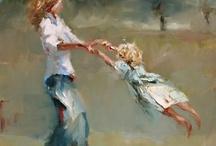 mor, svingende med barn