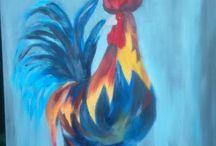 Haan geschilderd / schilderen