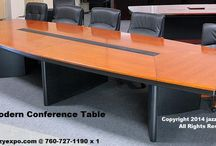 Modern Conference Table - Dallas Model / This modern conference table is excellent for business meetings. It's a quality conference table with a center panel cover for wiring for a more economical price. In stock in limited sizes. Available with the optional data port panels