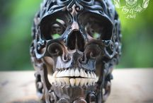 RARE Hand Carved Sculpture Human Skull Filigree From Arang Wood / Already SOLD to Arizona Wonderful art This is a genuine, Your looking at a Awesome Rare High end Hand Carved Sculpture Arang Wood Skull from Bali Artist's with Filigree Tribal style. The wooden skull is not marked or signed but came from a reputable Artis in Bali. This would look Great in your collection also a Great unique Gift or Halloween Gift.