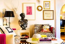 My Bedroom / Full of quirky delights, instruments, pops of color, gold, art and random mismatched furniture and pillows, lots of pillows! That's my room.  / by JuliAnne Berry