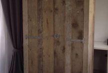 Kleding kast steigerhout / Schuine kant