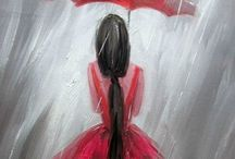 parasol caerwony