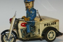 Police Motorcycle Motorbike Tin Toy / Vintage Police Motorbikes Tin Metal & Plastic