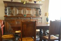 Antique Tudor Furniture / Lovely Antique Tudor Furniture. Consisting of a Dining-Room, a Dining Table with 6 chairs. When you see this set at once you feel the enorm craftsmanship, because this set has al lot of wood carving. All in a original keep state, that's make it extra ordinairy! This all exudes history! Now it's for sale!
