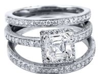 Asscher Cut Diamond Rings / Asscher cut diamond rings from King of Jewelry provide exquisite Art Deco style with truly first-rate service.