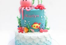 Underwater themed birthday cake