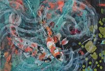 Koi Pond Artwork / The beauty of Koi Fish with paintings I have created.