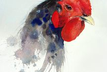 Watercolor Roosters / Ideas to paint Roosters in Watercolor