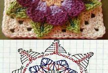 Háčkované motivy / Háčkované diagramy. Kytičky. Čtverce. Motivy. Crochet diagrams. Flowers. Squares. Motifs.