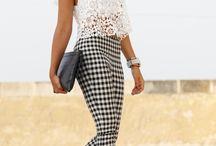 pantalón negro y blanco