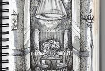 SKETCH / my interiors rendering by watercolor, digital drawing and pencil and sketches of artist for inspiration
