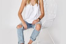 Boyfriend jeans flats and singlet/ cami