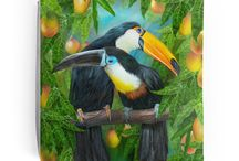 """Tropical Art Tote Bags / A unique, one-of-a-kind  collection of designer tote bags featuring tropical art by Carol Cavalaris. Sizes include 13"""" x 13"""", 16"""" x 16"""" and 18"""" x 18""""."""
