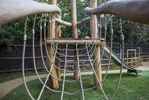 Robinia Climbing Frame / Bespoke climbing Frame we have created for a Primary school, Integrating fun with educational values made from a mixture of Belgian Robinia and French Oak