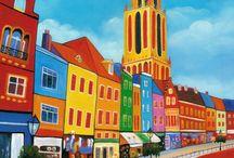 Schilderijen stadsgezicht