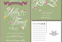 Pink and green spring wedding / Pink and green flower floral spring wedding invitations