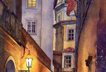 watercolour streetscapes