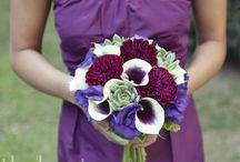 White and Purple wedding flowers with rustic feel