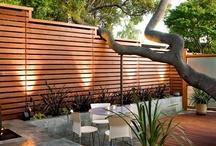 backyard cedar fence and planters