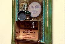 Assemblage Art in Denise Cerro Studio / Assemblage art pieces created by Denise Cerro