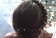 BEDAZZLE braid with bun /   French braid - low lived in bun with eyelash glue and jewels