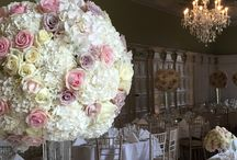 Sumptuous rose and hydrangea wedding / Gorgeous massed rose and hydrangea statement displays bringing drama and romance to the church and hall at Hengrave
