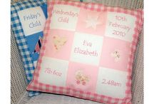 Memory Cushion® / Our Memory Cushions make a great gift to commemorate the birth of a new baby.  Personalise the five patches of this handmade cushions with all the special details.  Choose from our range of designs.  Memory Cushion®: Registered Design and Trade Mark