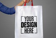 Custom Screen Printing White Carry Bags