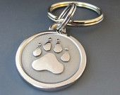 Keychains / Silver Paw Engraved Stainless Steel Keychains