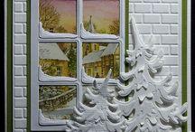 kerst kaart maken raam