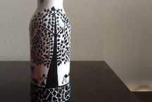painted winebottles