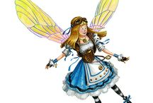 Steampunk Alice in Wonderland fairies / fairy art
